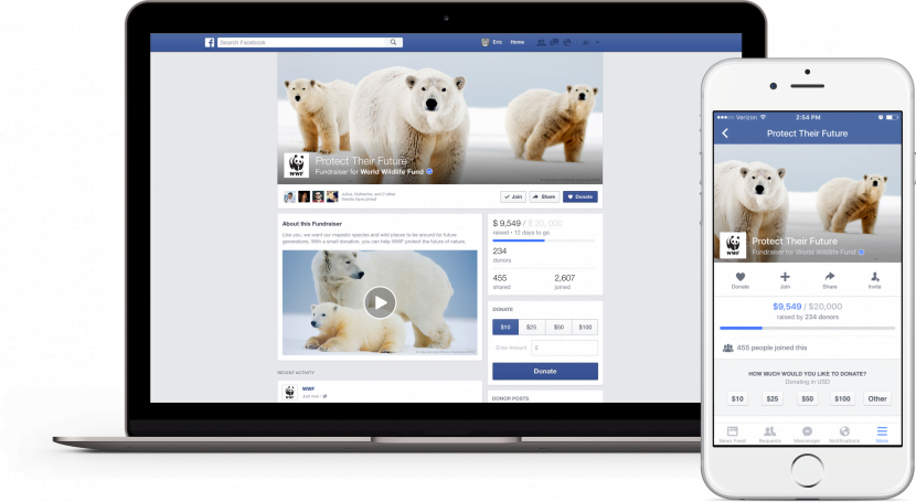 Donate feature for facebook